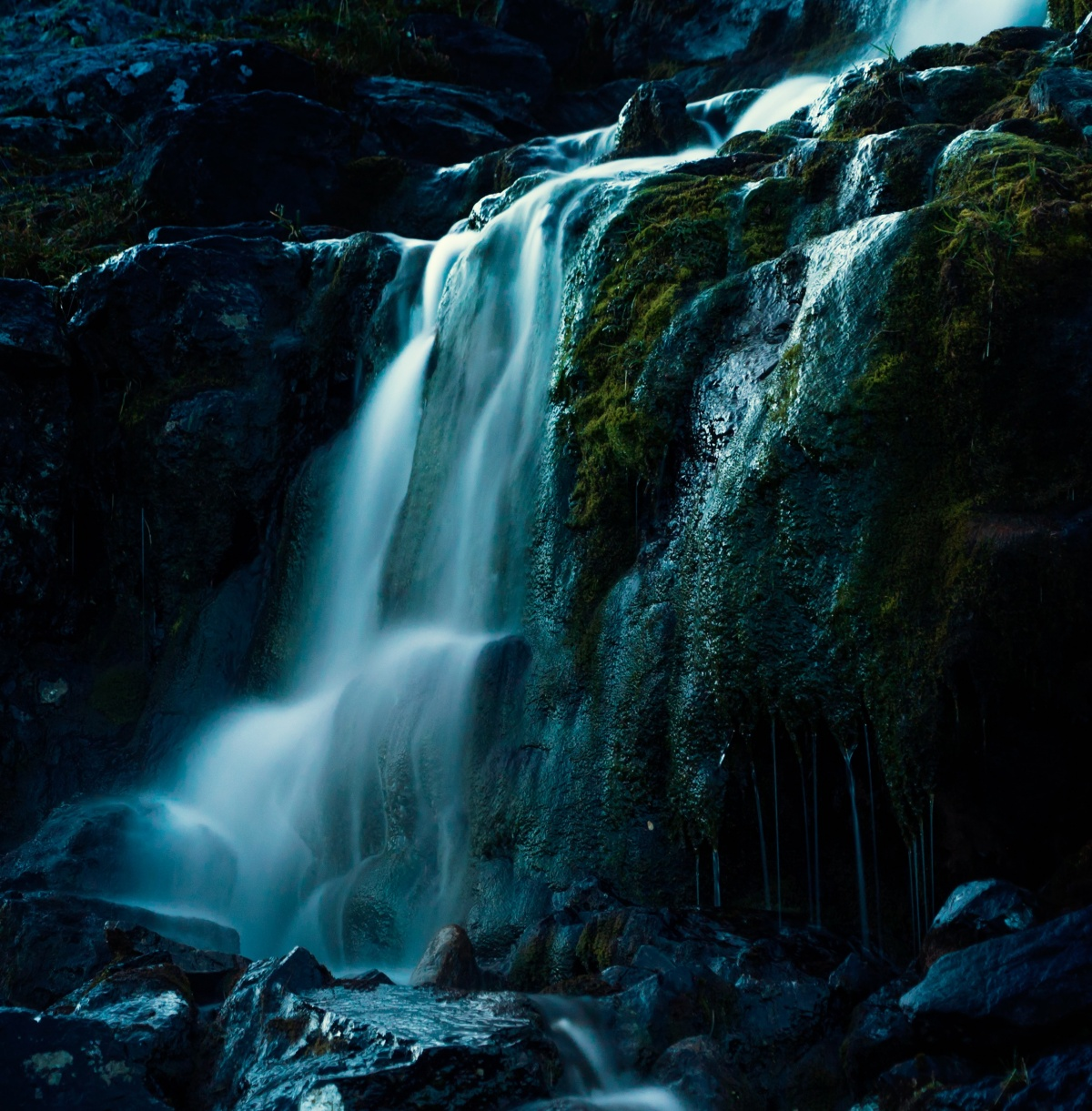Photo of moolit waterfall in Sarek national park