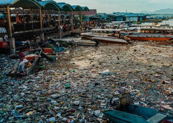 Port polluted with plastic waste in Semporna, Malaysian Borneo