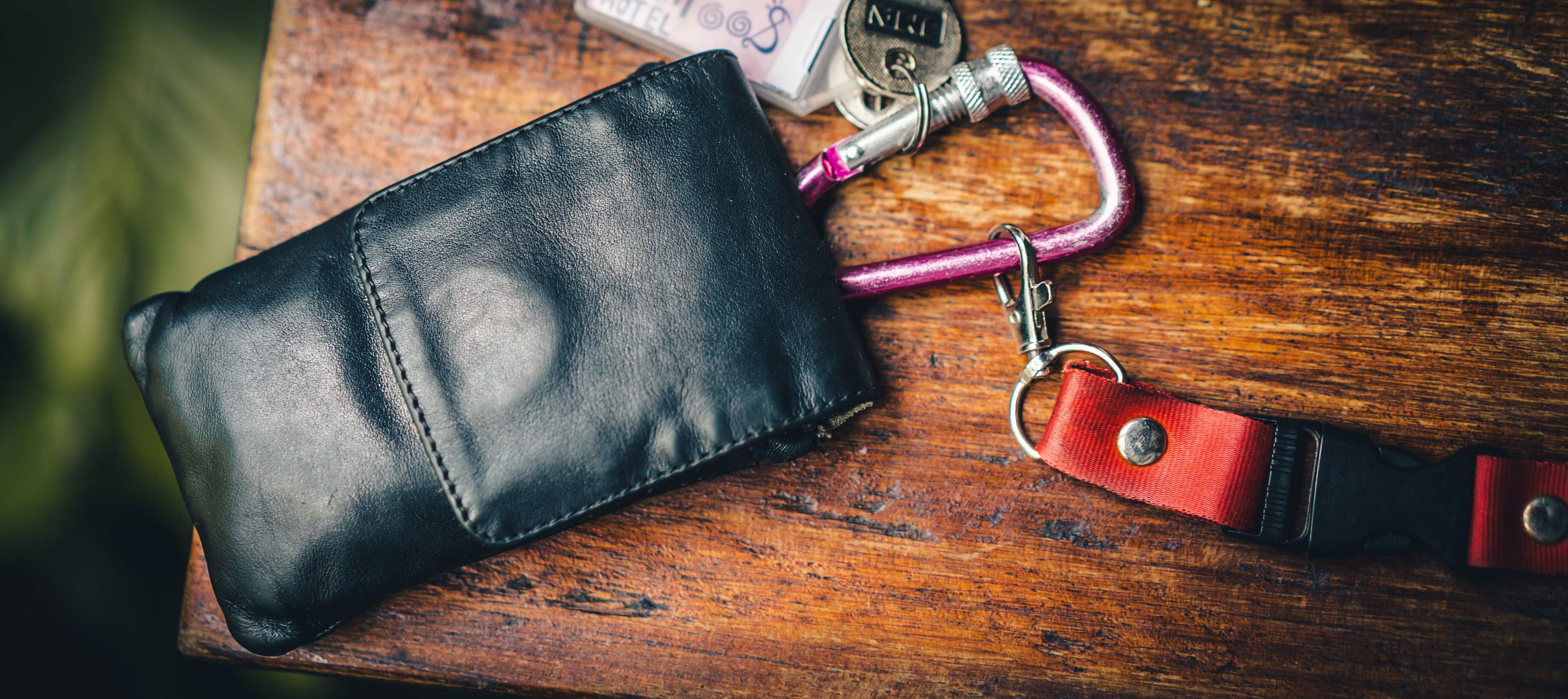 Wallet pouch with carabiner and sling