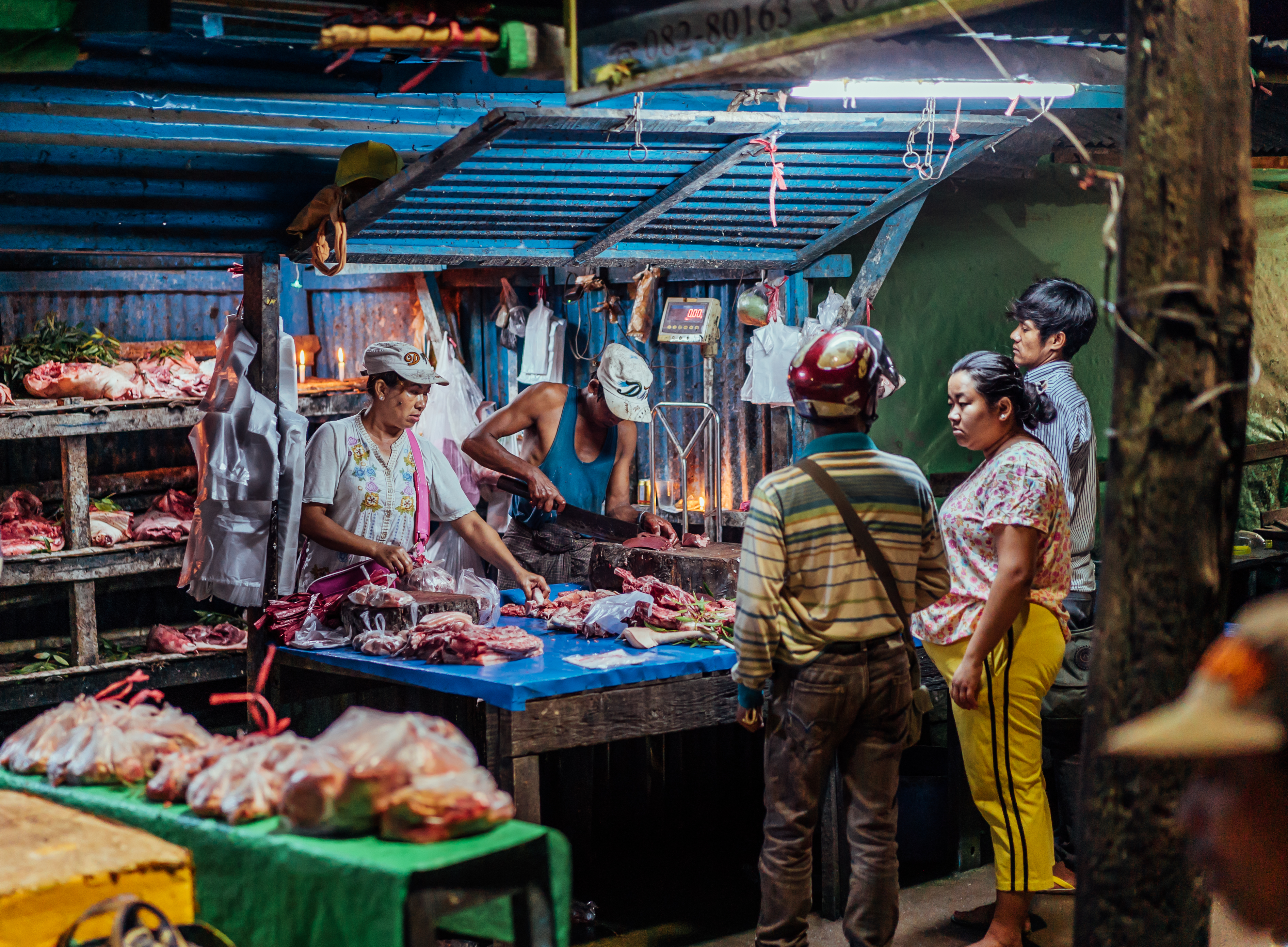 Photo of early morning meat market in Hsipaw, Myanmar