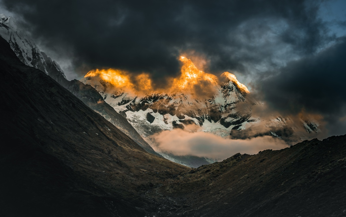 Photo of golden sunrise over Annapurna south in Nepal