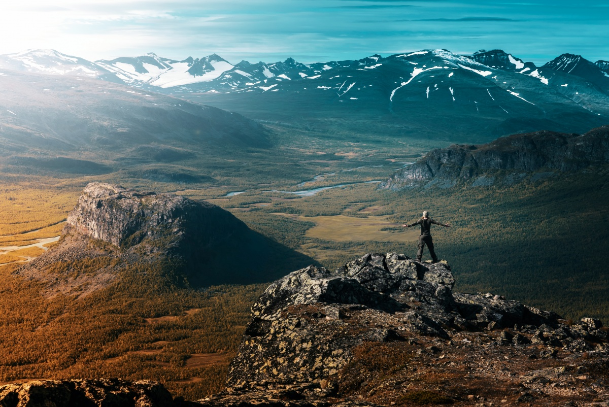 Photo of Sarek valley shot from Skierfe cliff top