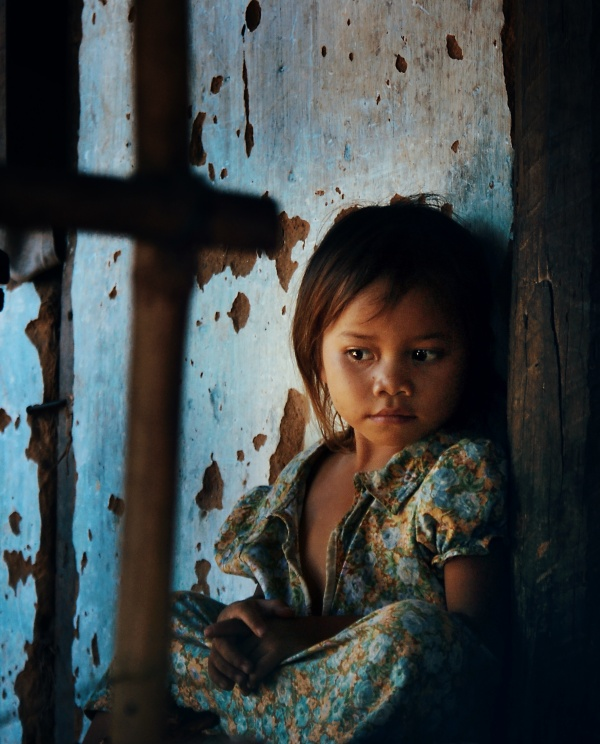 Kid chilling out in Vietnam countryside