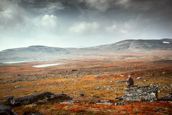Landscape of Three Country-Cairn in Northern Lapland