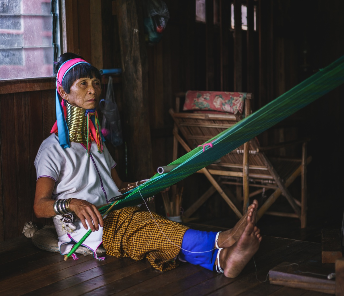 Photo of long neck Kayan tribal woman in Inle lake, Myanmar