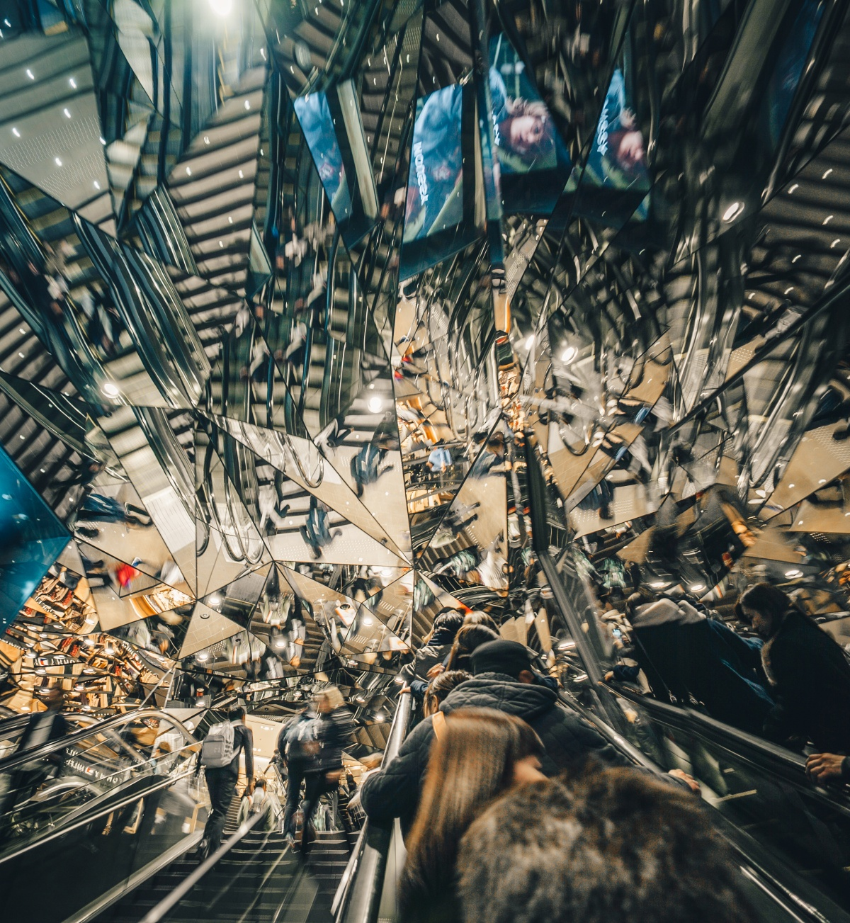 Psychedelic mirror tunnel in Harajuku, Tokyo, Japan.