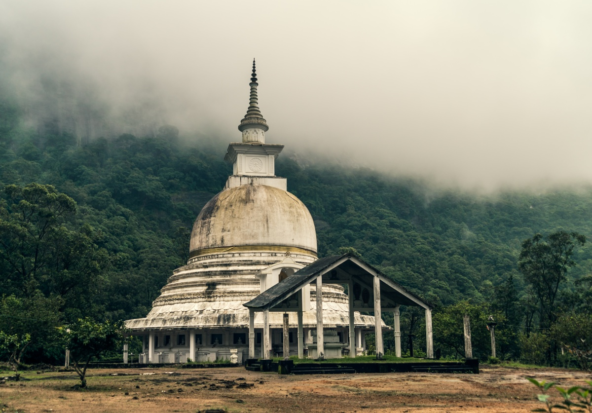 Photo of dagoba/stupa in Sri Lankan mountainside