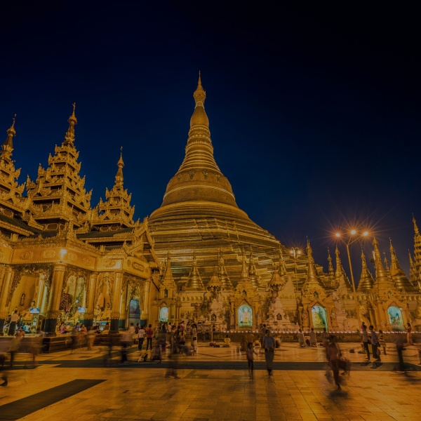 Shwedagon Pagoda after sunset