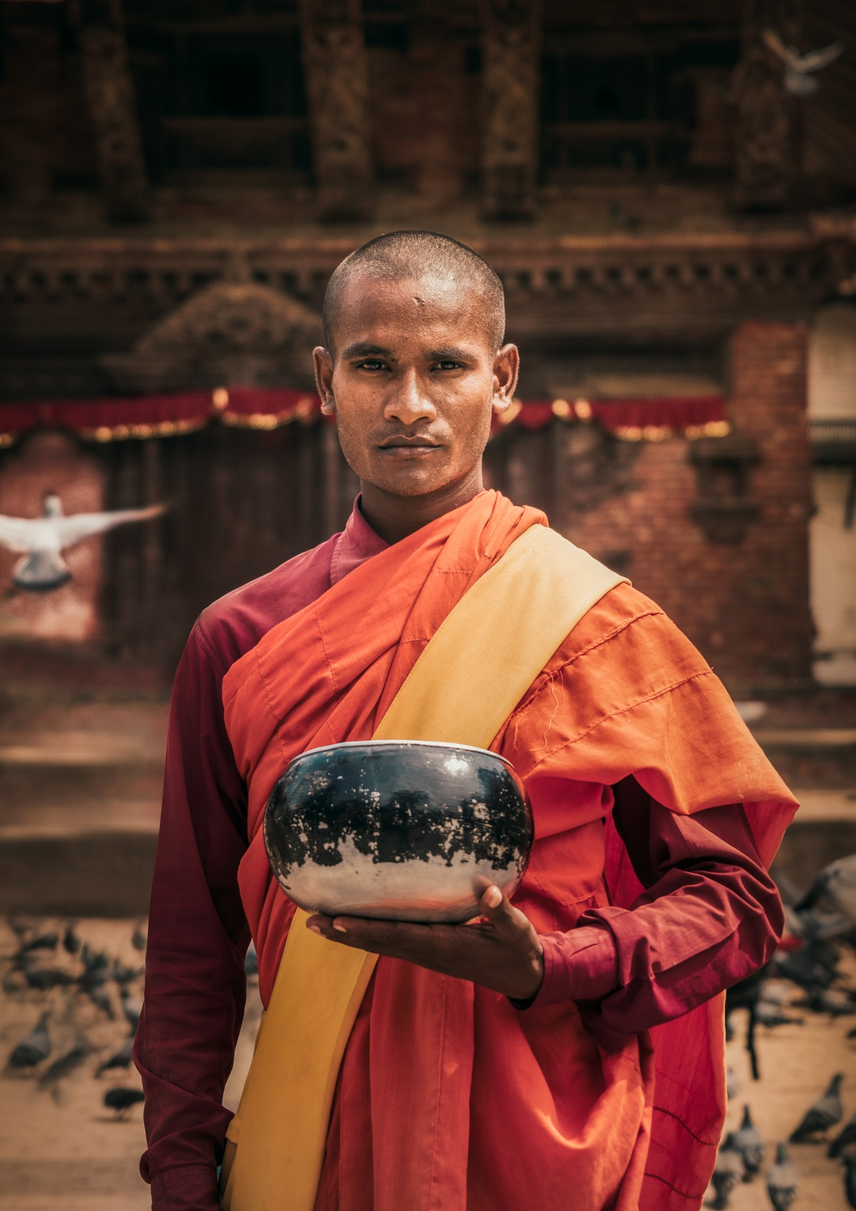 Photo of Nepalese monk in Durbar square, Kathmandu