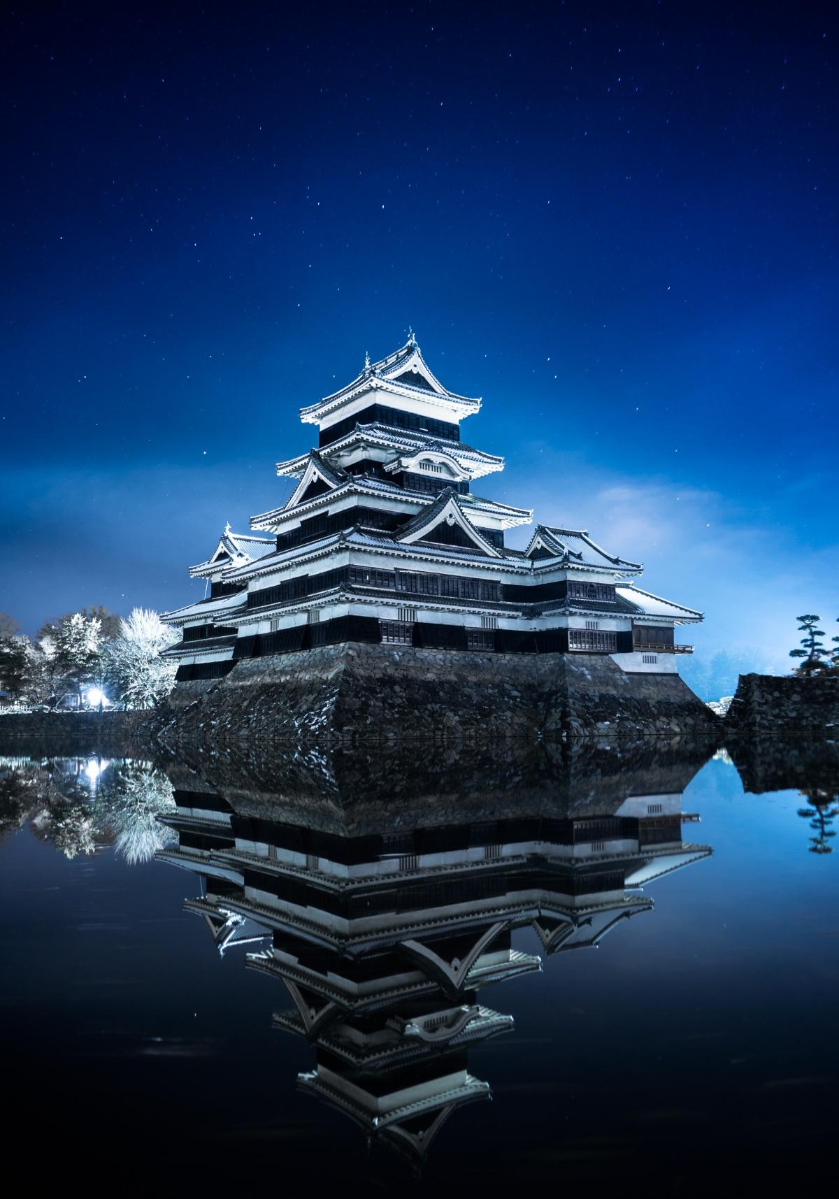 Nightshot of Matsumoto Castle in Japan