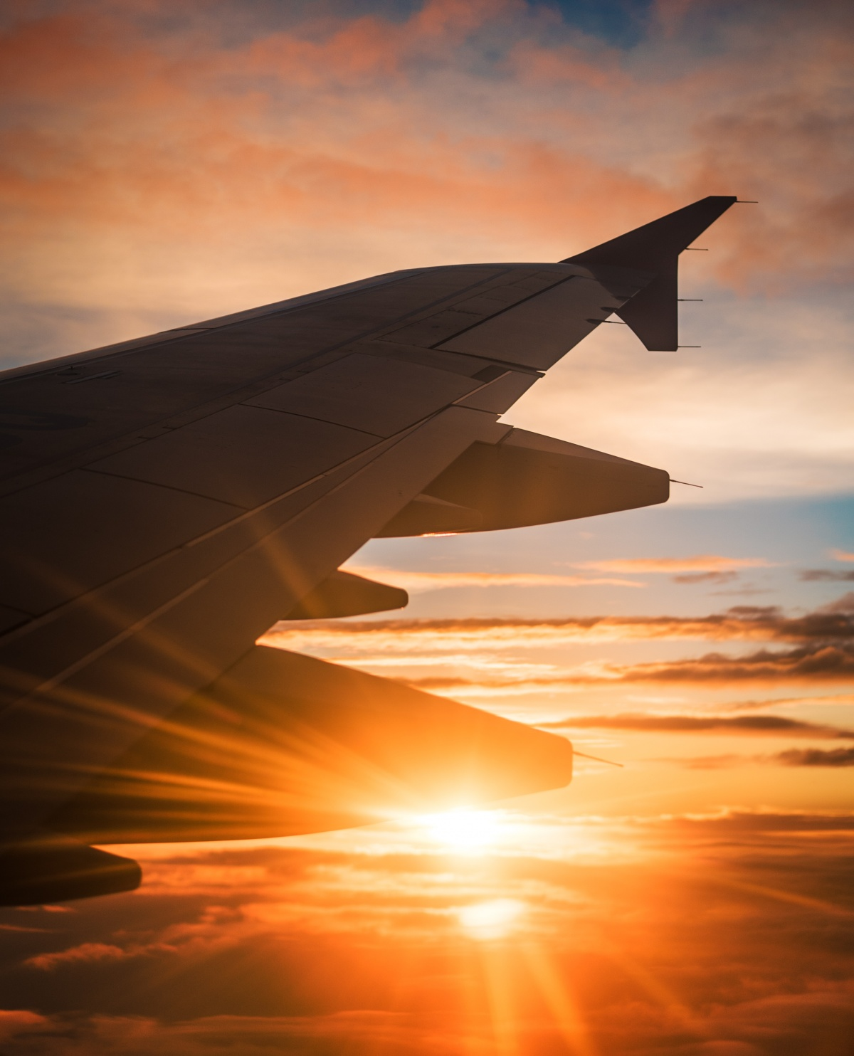Photo of jetplane wing and sunset