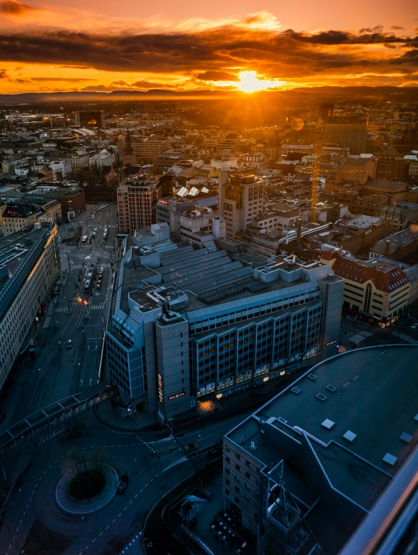 Sunset at the top of RadissonBlu Plaza in Oslo, Norway