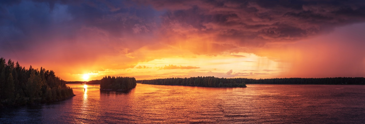 Panorama photo of gorgeous sunset over river
