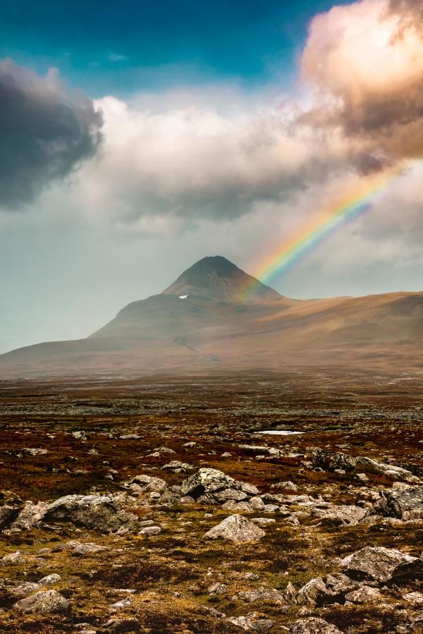 Rainbow above Barras mountain top