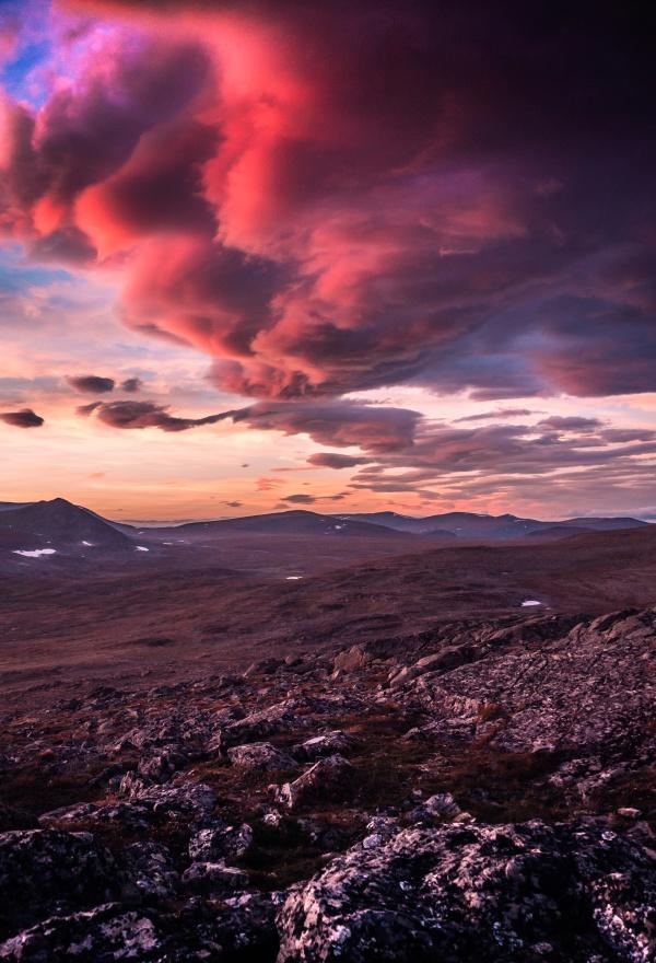 Beautiful sunset in Sarek national park, northern Sweden