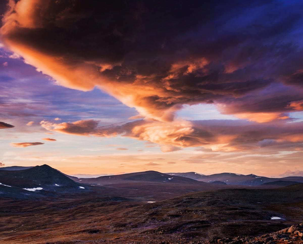 Photo of sunset in Sarek, Northern Sweden