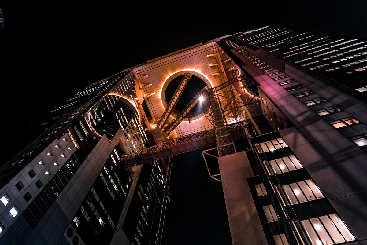 Photo of Umeda Sky Building in Osaka, Japan by night