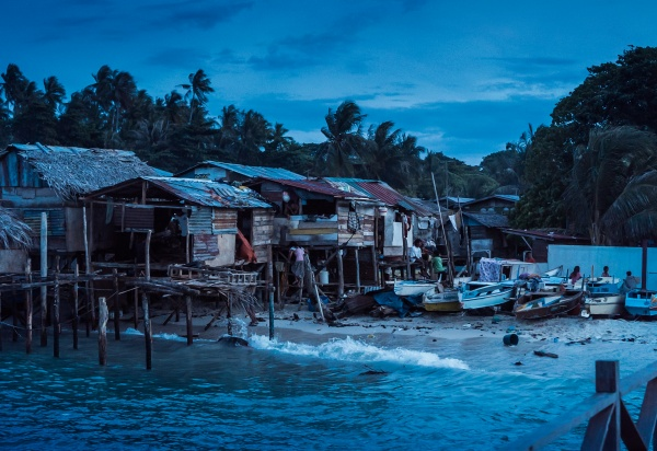 Nighttime in village of sea gypsies on Mabul, Borneon Malaysia